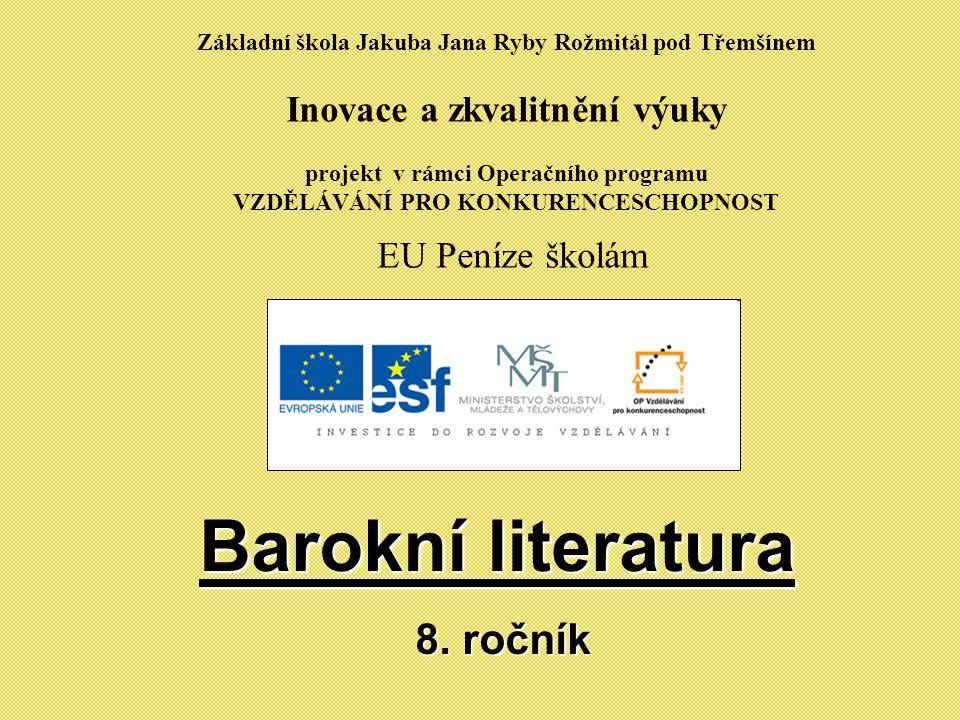 Barokní literatura 8. ročník