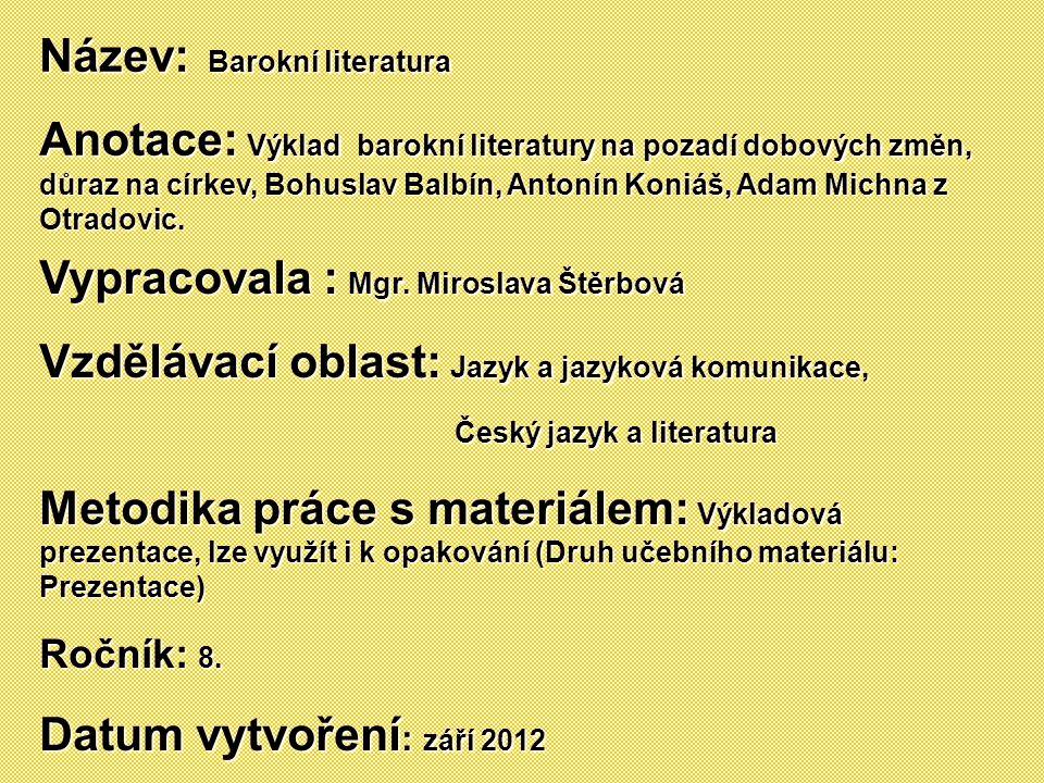 Název: Barokní literatura