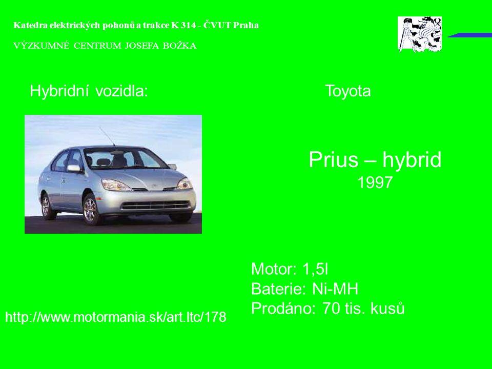Prius – hybrid Hybridní vozidla: Toyota 1997 Motor: 1,5l