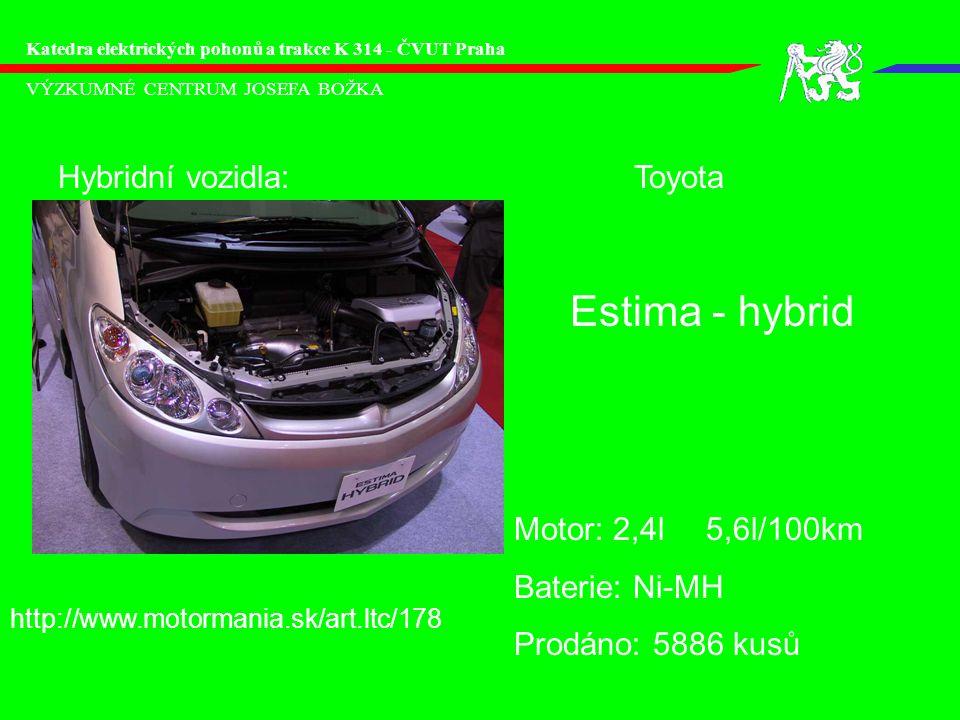 Estima - hybrid Hybridní vozidla: Toyota Motor: 2,4l 5,6l/100km