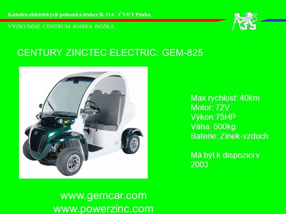 www.gemcar.com www.powerzinc.com CENTURY ZINCTEC ELECTRIC: GEM-825