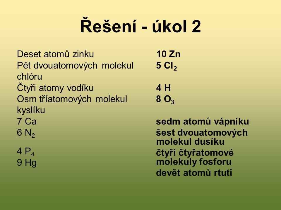 Řešení - úkol 2 Deset atomů zinku Pět dvouatomových molekul chlóru