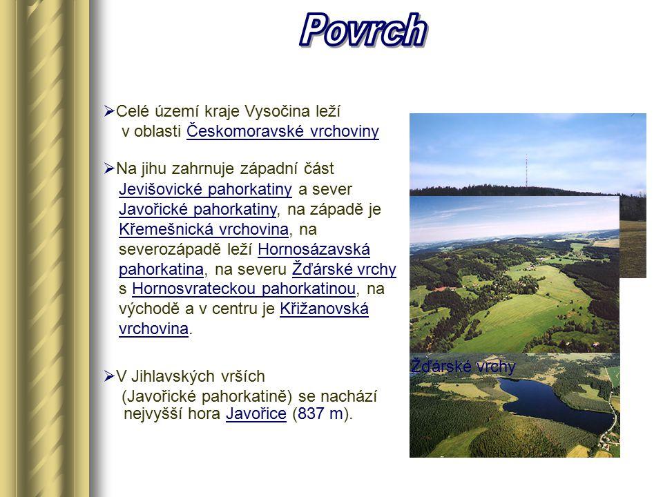 Povrch Celé území kraje Vysočina leží