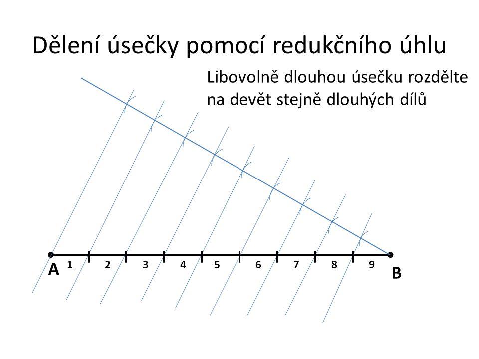 Dělení úsečky pomocí redukčního úhlu