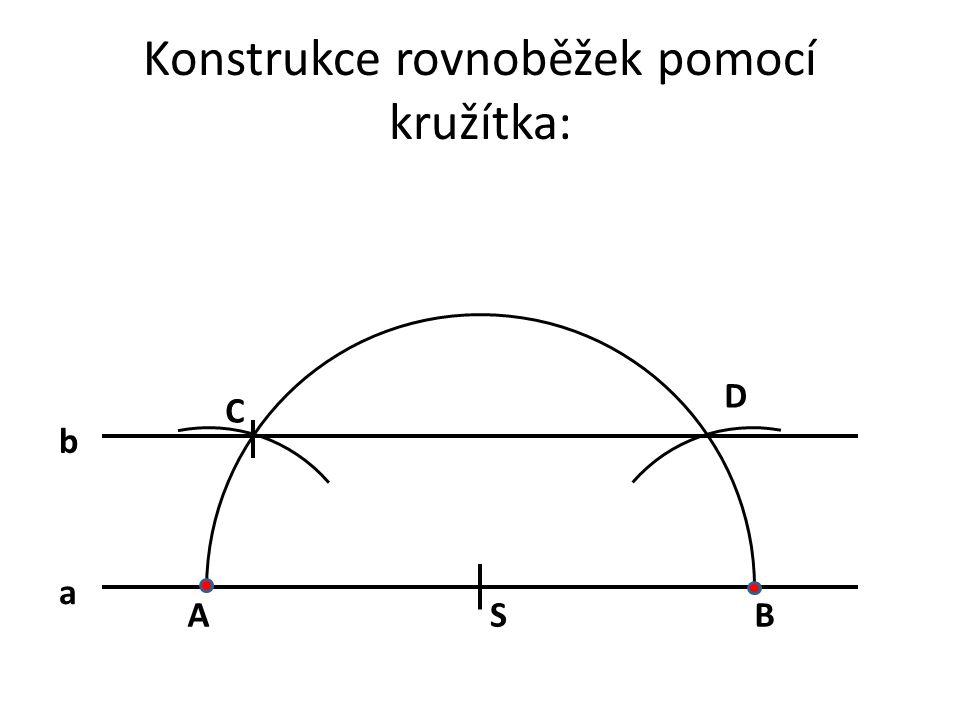 Konstrukce rovnoběžek pomocí kružítka: