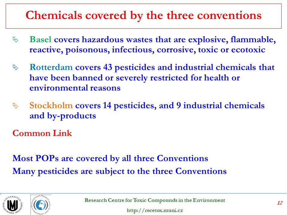 Chemicals covered by the three conventions