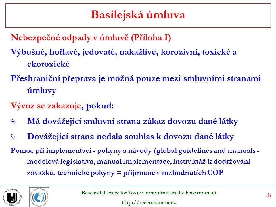 Basilejská úmluva Nebezpečné odpady v úmluvě (Příloha I)