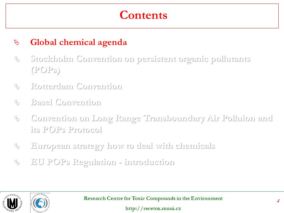 Contents Global chemical agenda
