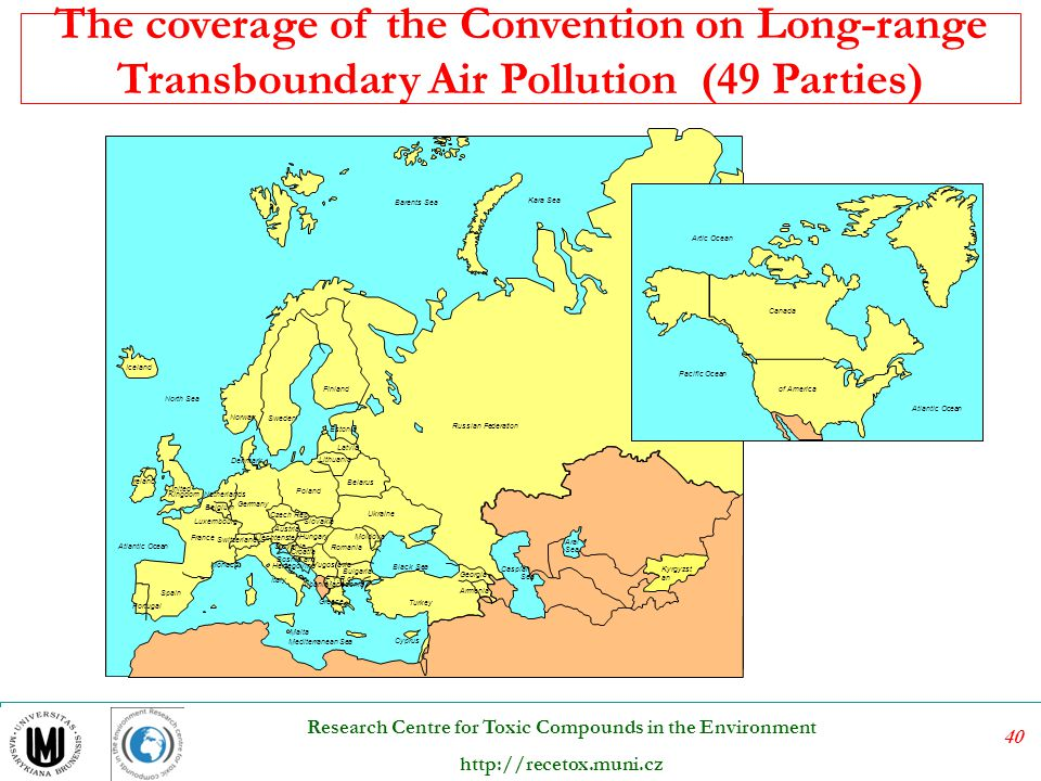 The coverage of the Convention on Long-range Transboundary Air Pollution (49 Parties)