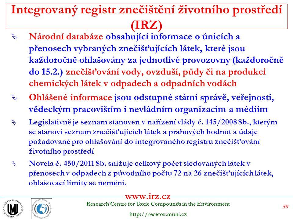 Integrovaný registr znečištění životního prostředí (IRZ)
