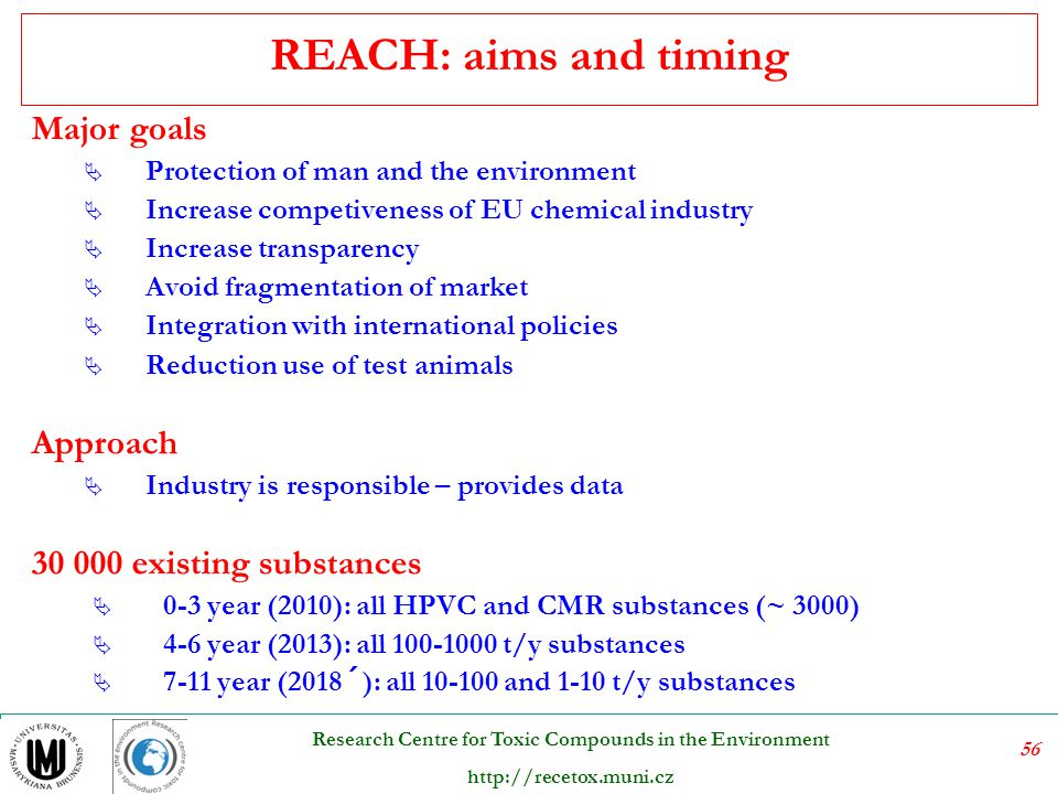 REACH: aims and timing Major goals Approach 30 000 existing substances