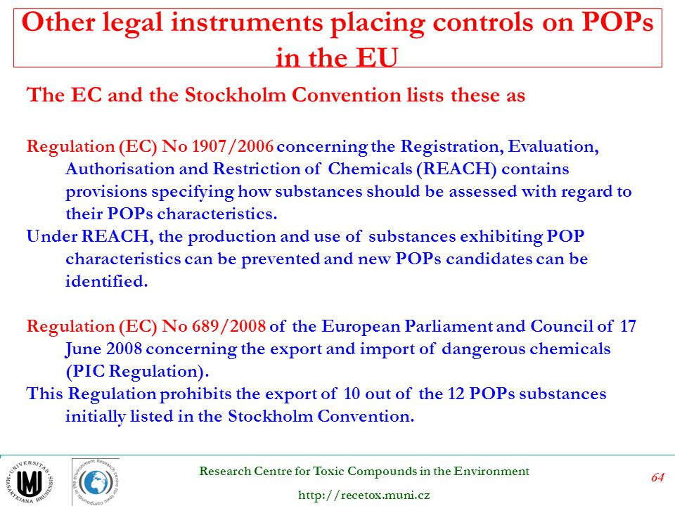 Other legal instruments placing controls on POPs in the EU