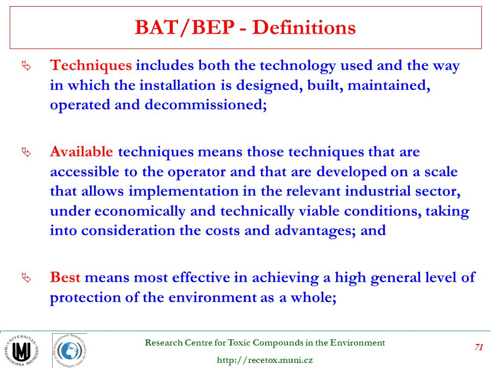 BAT/BEP - Definitions