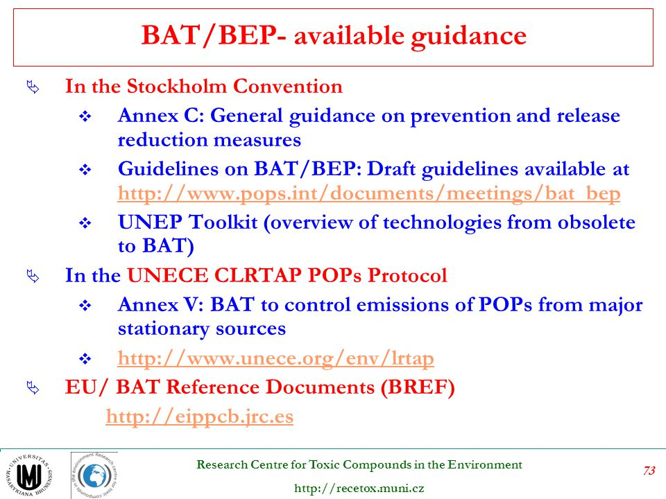 BAT/BEP- available guidance