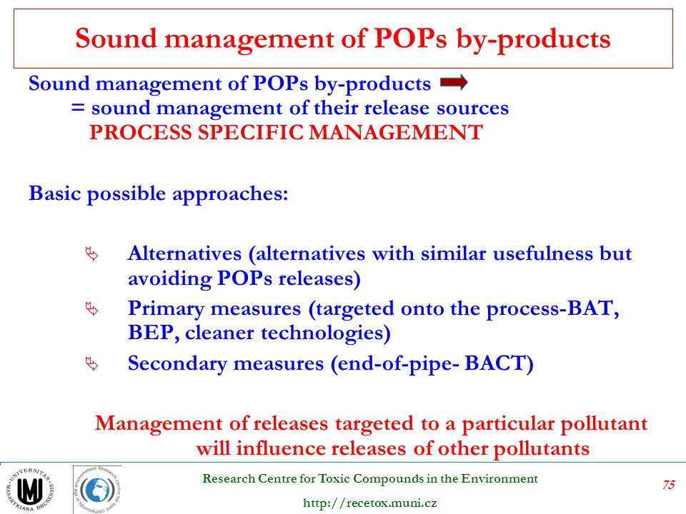 Sound management of POPs by-products