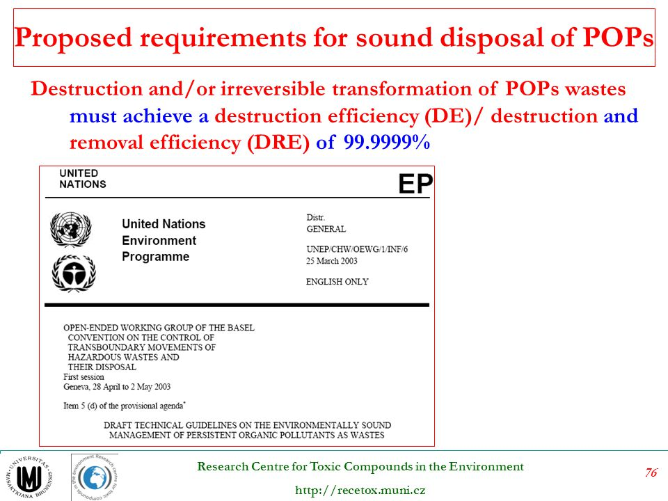 Proposed requirements for sound disposal of POPs