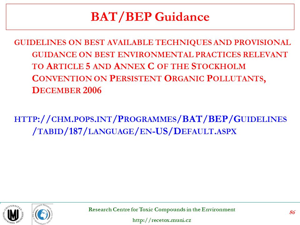 BAT/BEP Guidance