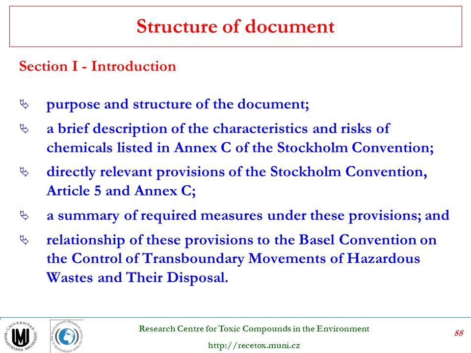 Structure of document Section I - Introduction