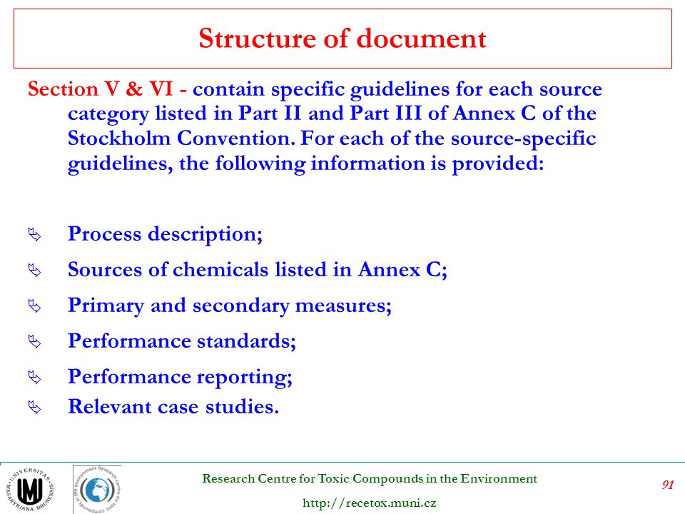 Structure of document