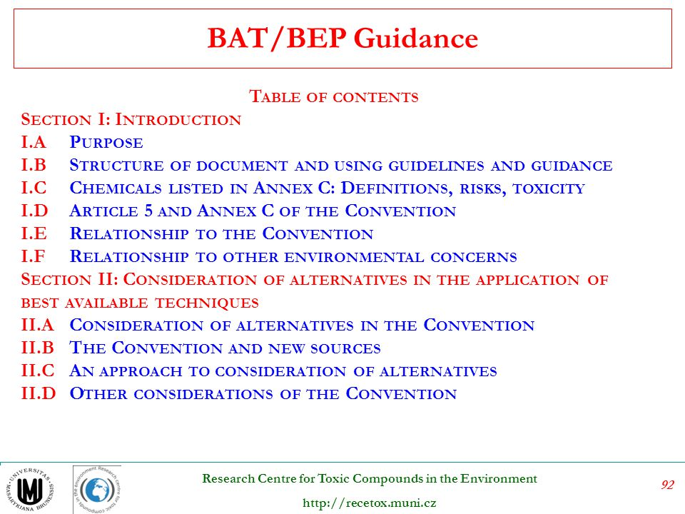 BAT/BEP Guidance Table of contents Section I: Introduction i.a Purpose