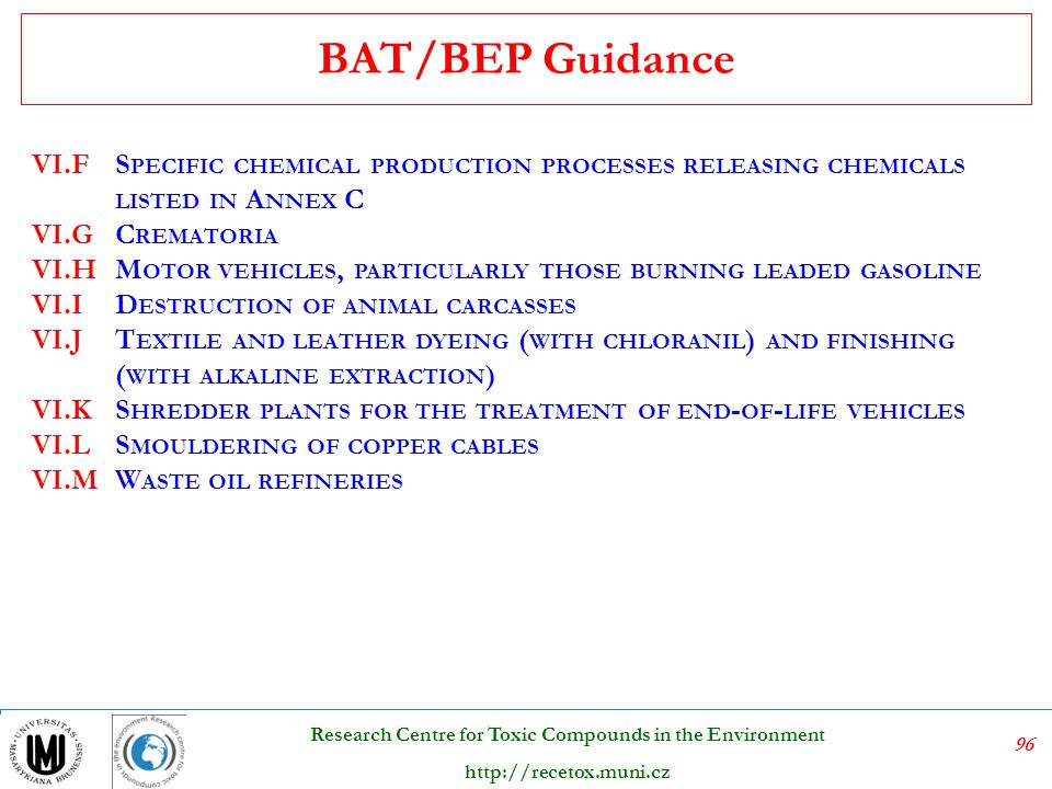 BAT/BEP Guidance VI.F. Specific chemical production processes releasing chemicals listed in Annex C.