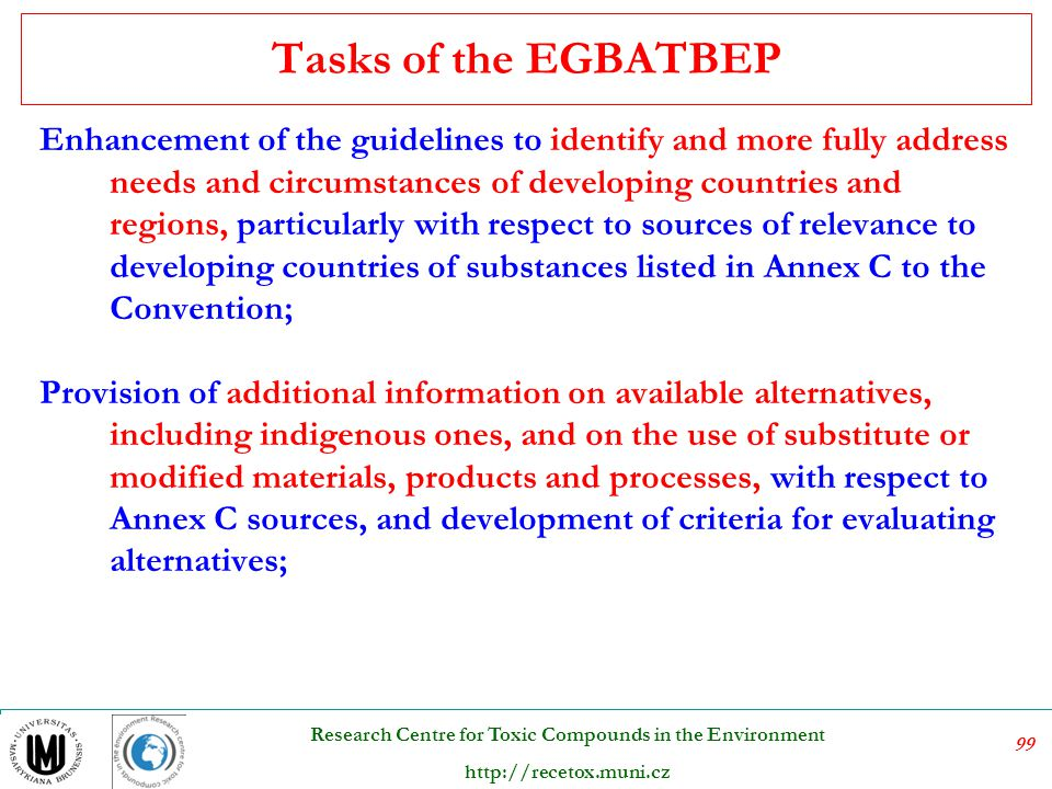 Tasks of the EGBATBEP