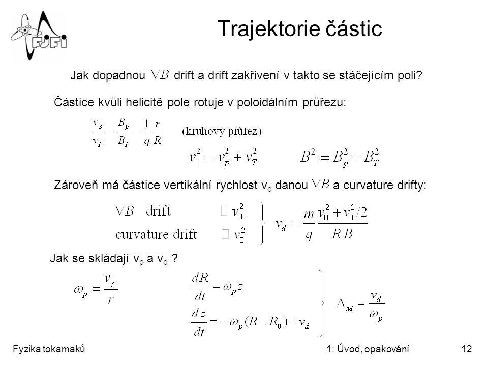 Trajektorie částic Jak dopadnou drift a drift zakřivení v takto se stáčejícím poli Částice kvůli helicitě pole rotuje v poloidálním průřezu: