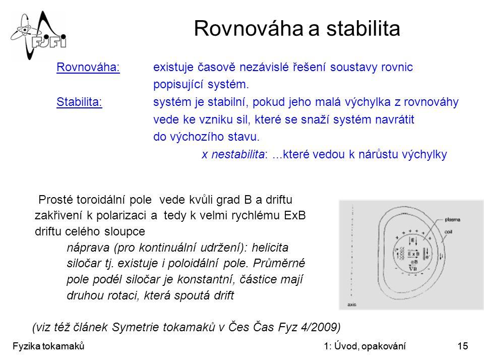 Rovnováha a stabilita Rovnováha: existuje časově nezávislé řešení soustavy rovnic popisující systém.