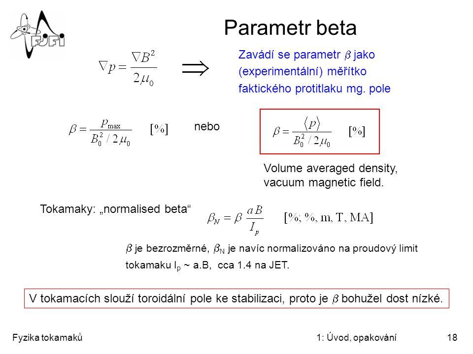 Parametr beta Zavádí se parametr b jako (experimentální) měřítko faktického protitlaku mg. pole. nebo.