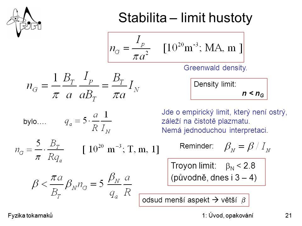 Stabilita – limit hustoty