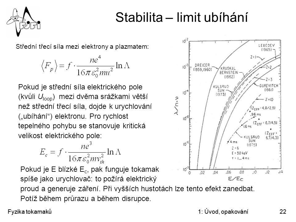 Stabilita – limit ubíhání