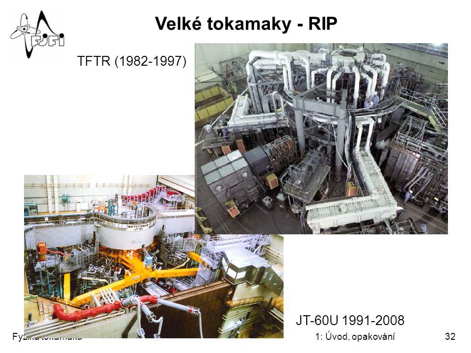 Velké tokamaky - RIP TFTR (1982-1997) JT-60U 1991-2008 Fyzika tokamaků