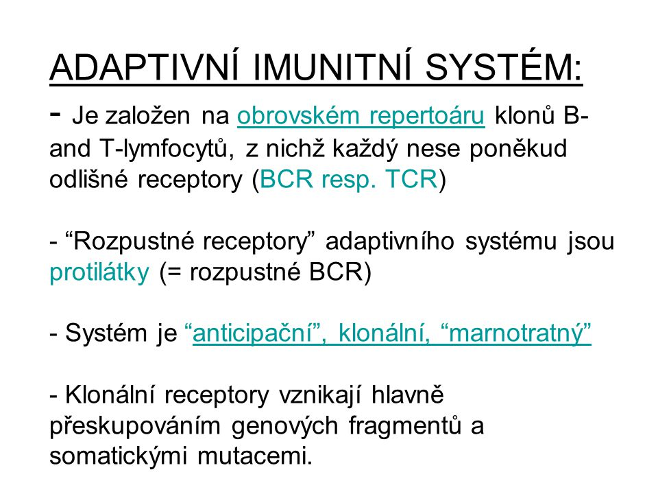 ADAPTIVNÍ IMUNITNÍ SYSTÉM: - Je založen na obrovském repertoáru klonů B- and T-lymfocytů, z nichž každý nese poněkud odlišné receptory (BCR resp.