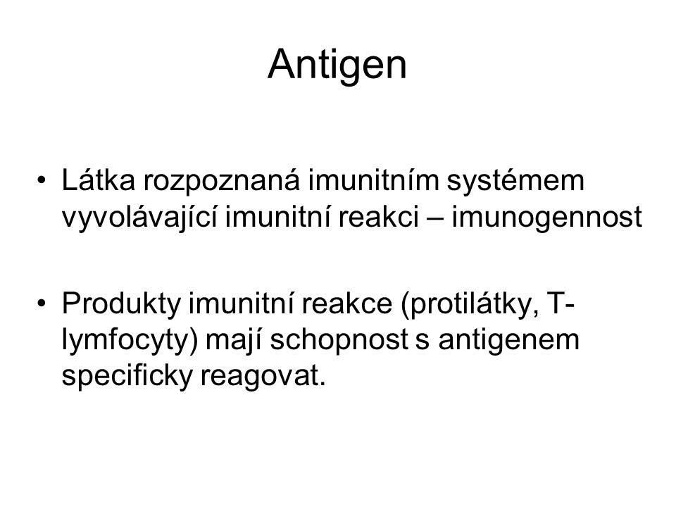 Antigen Látka rozpoznaná imunitním systémem vyvolávající imunitní reakci – imunogennost.