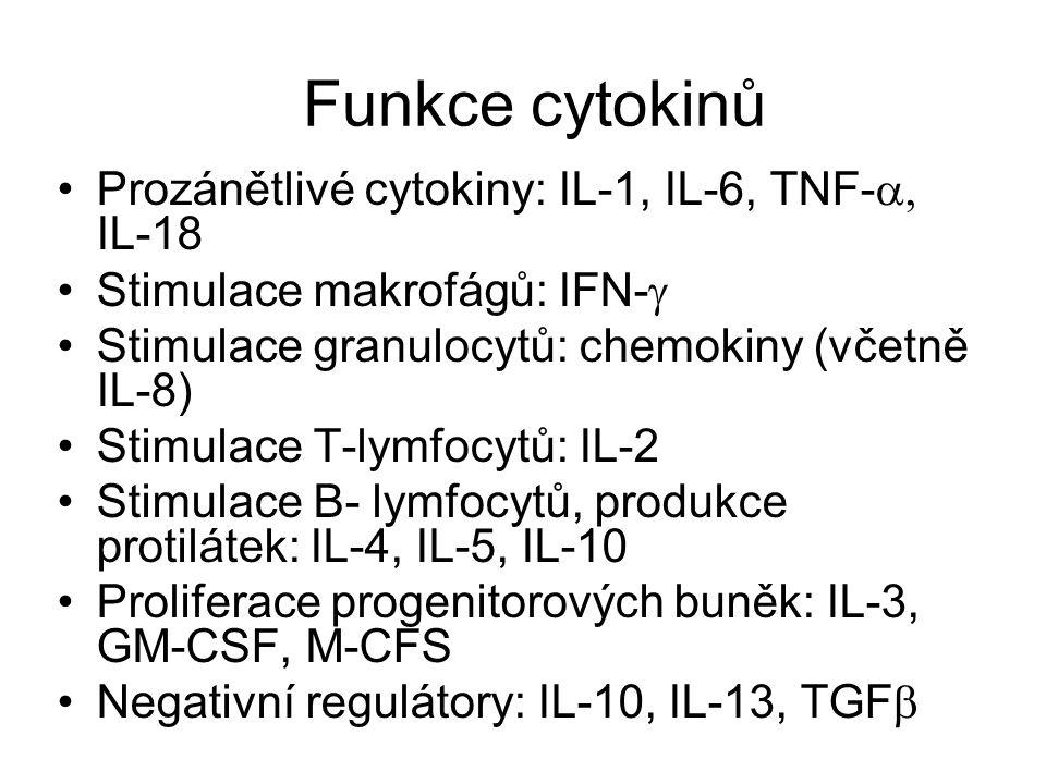 Funkce cytokinů Prozánětlivé cytokiny: IL-1, IL-6, TNF-a, IL-18