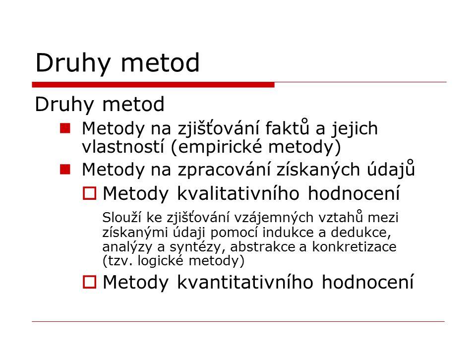 Druhy metod Druhy metod Metody kvalitativního hodnocení