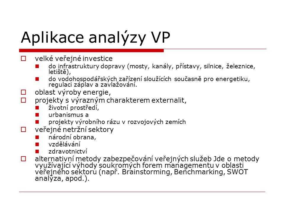 Aplikace analýzy VP velké veřejné investice oblast výroby energie,