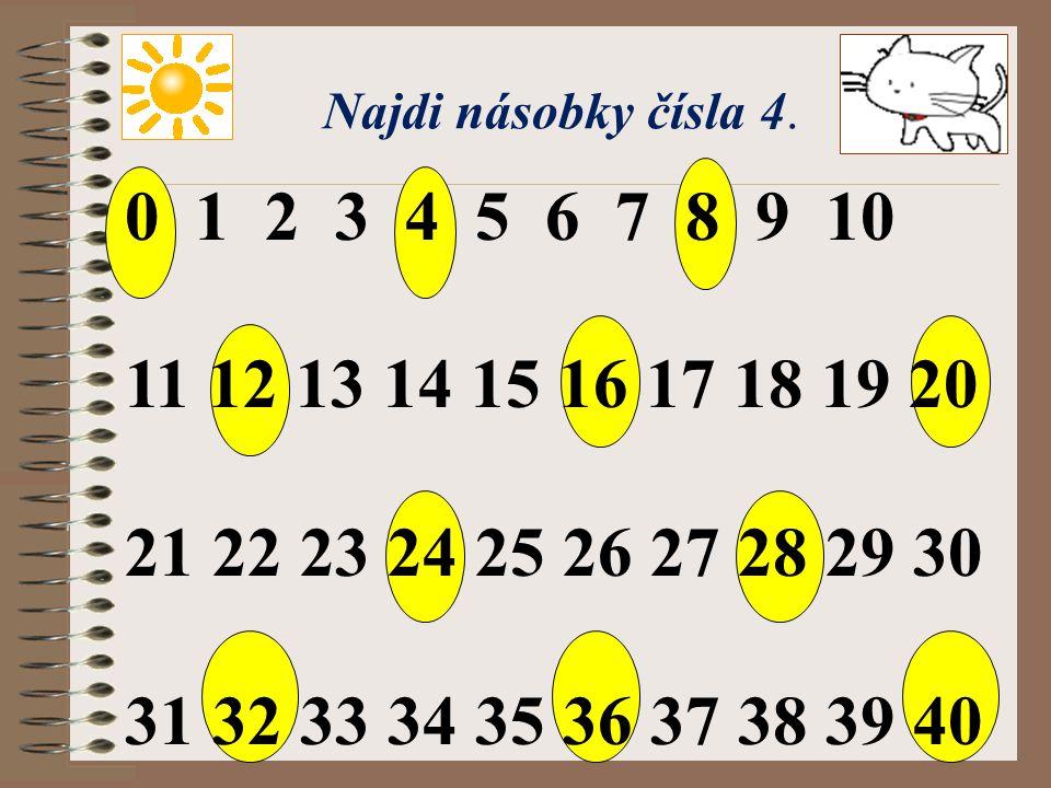 Najdi násobky čísla 4. 0 1 2 3 4 5 6 7 8 9 10. 11 12 13 14 15 16 17 18 19 20. 21 22 23 24 25 26 27 28 29 30.