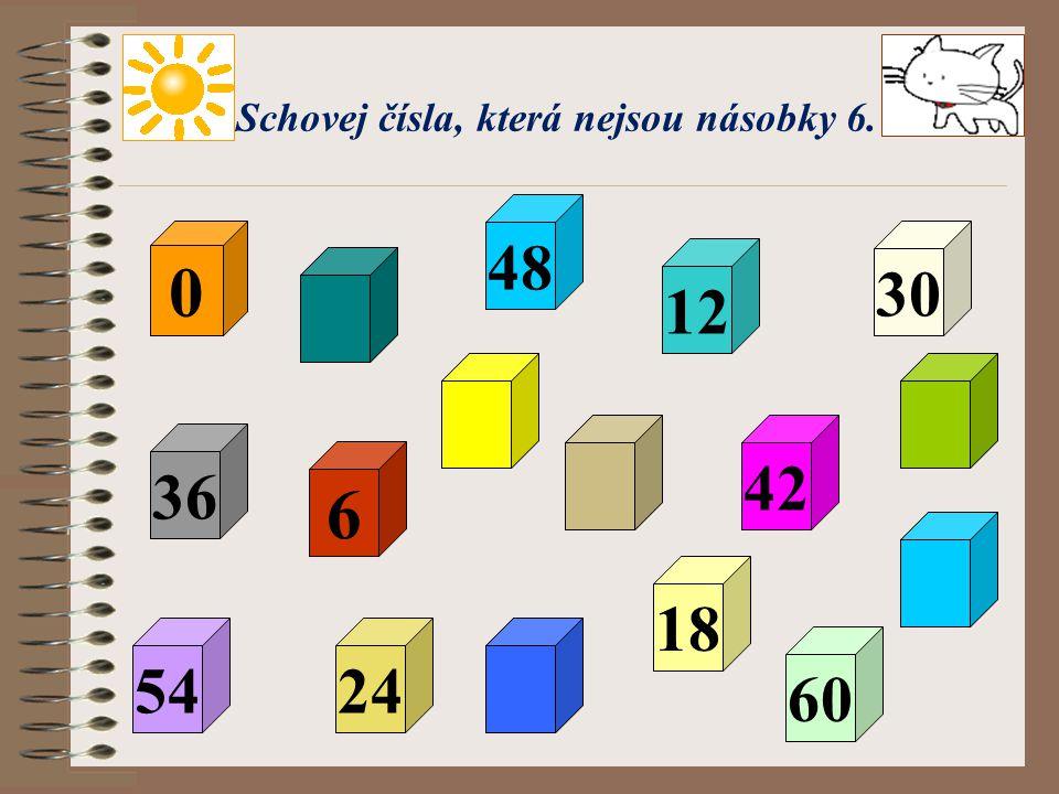 Schovej čísla, která nejsou násobky 6.