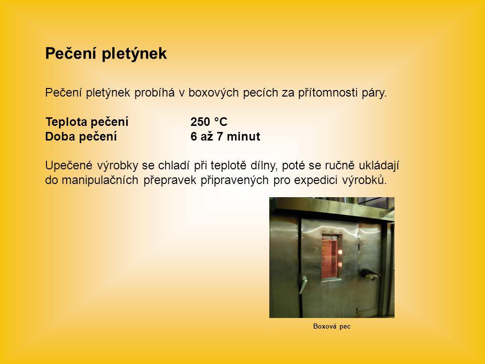 Pečení pletýnek Pečení pletýnek probíhá v boxových pecích za přítomnosti páry. Teplota pečení 250 °C.