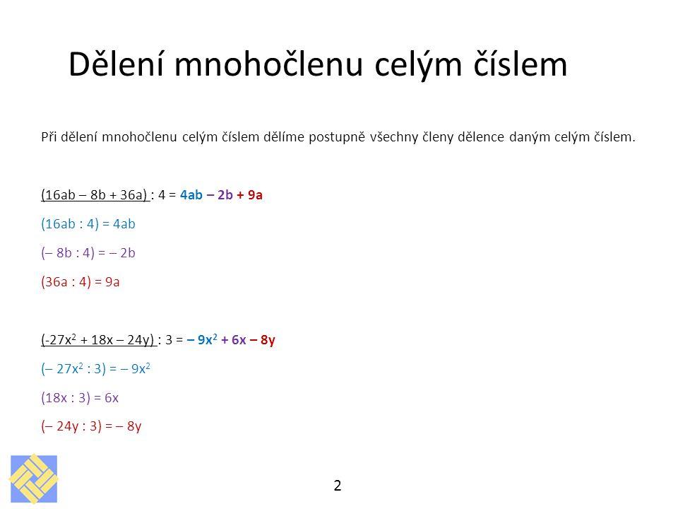 Dělení mnohočlenu celým číslem