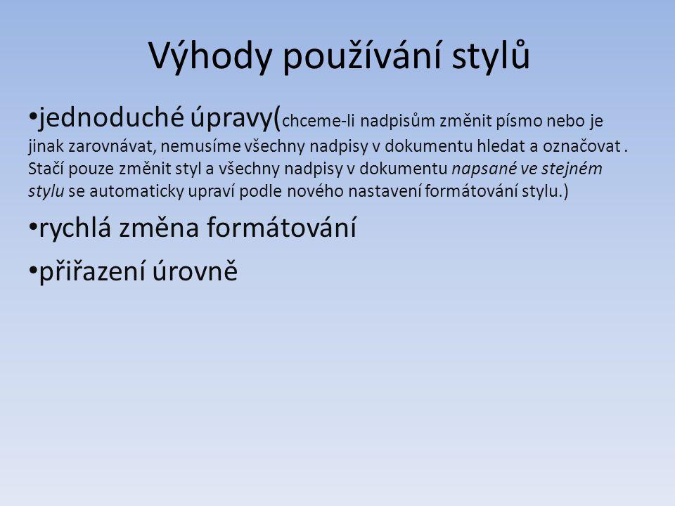 Výhody používání stylů