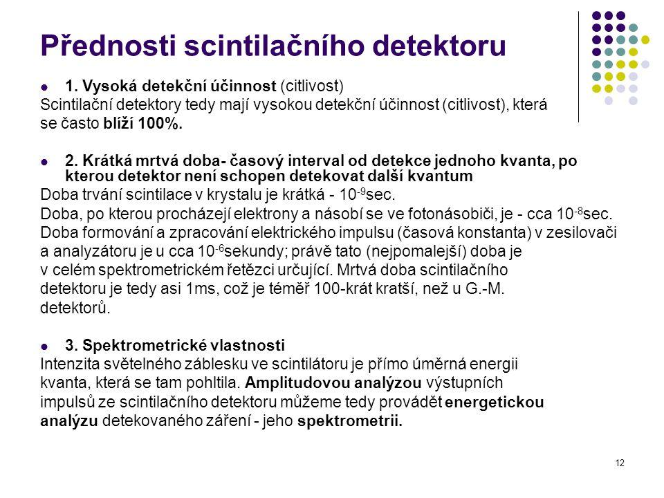 Přednosti scintilačního detektoru