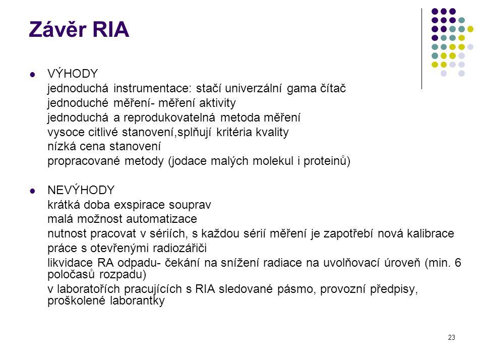 Závěr RIA VÝHODY. jednoduchá instrumentace: stačí univerzální gama čítač. jednoduché měření- měření aktivity.