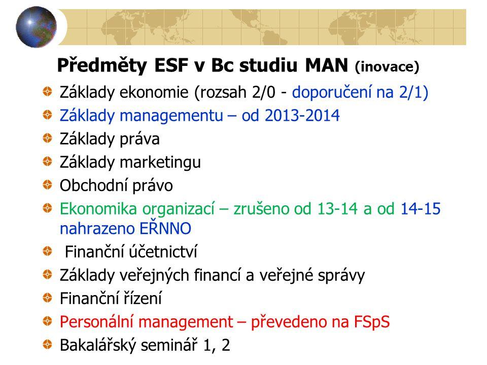 Předměty ESF v Bc studiu MAN (inovace)
