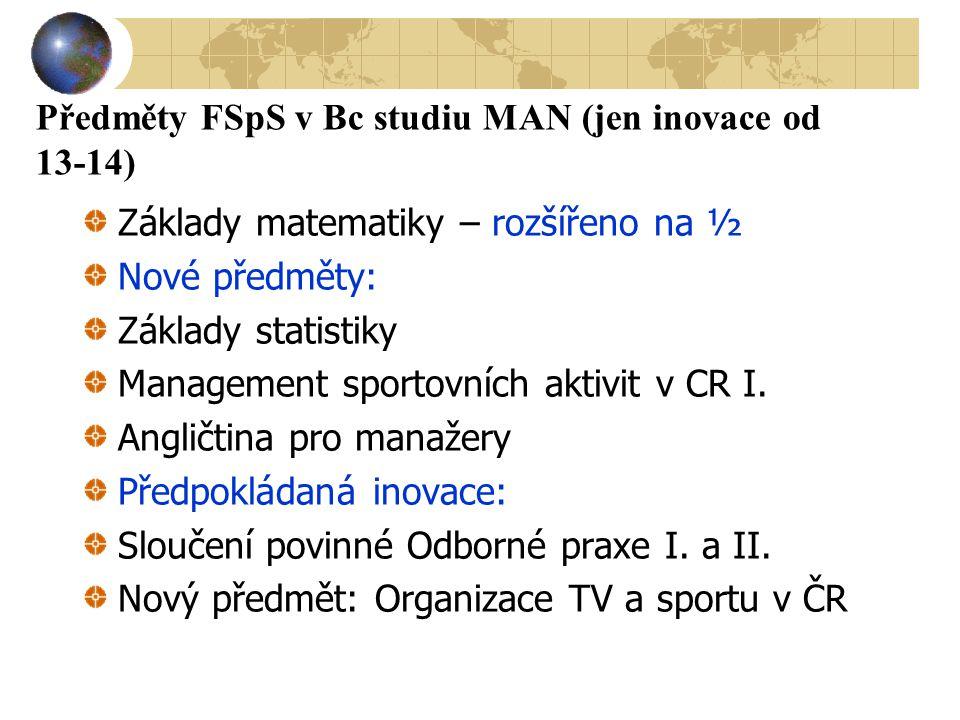 Předměty FSpS v Bc studiu MAN (jen inovace od 13-14)
