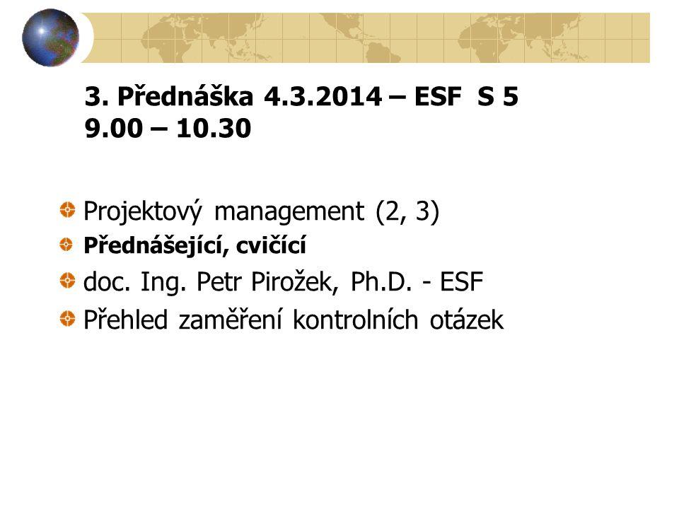 Projektový management (2, 3) doc. Ing. Petr Pirožek, Ph.D. - ESF