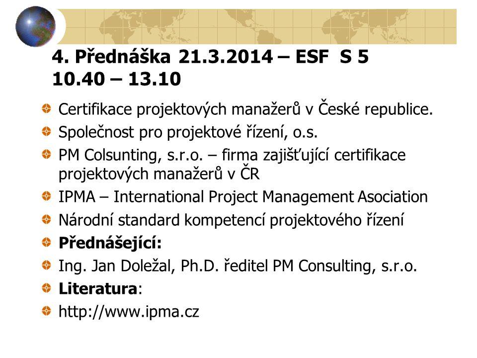 4. Přednáška 21.3.2014 – ESF S 5 10.40 – 13.10 Certifikace projektových manažerů v České republice.