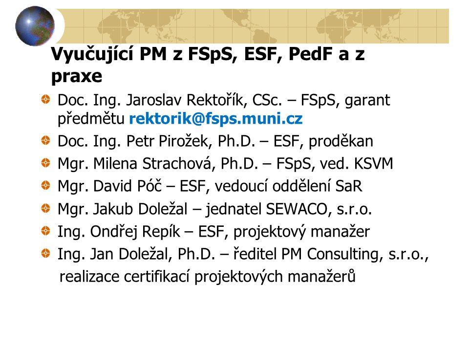 Vyučující PM z FSpS, ESF, PedF a z praxe