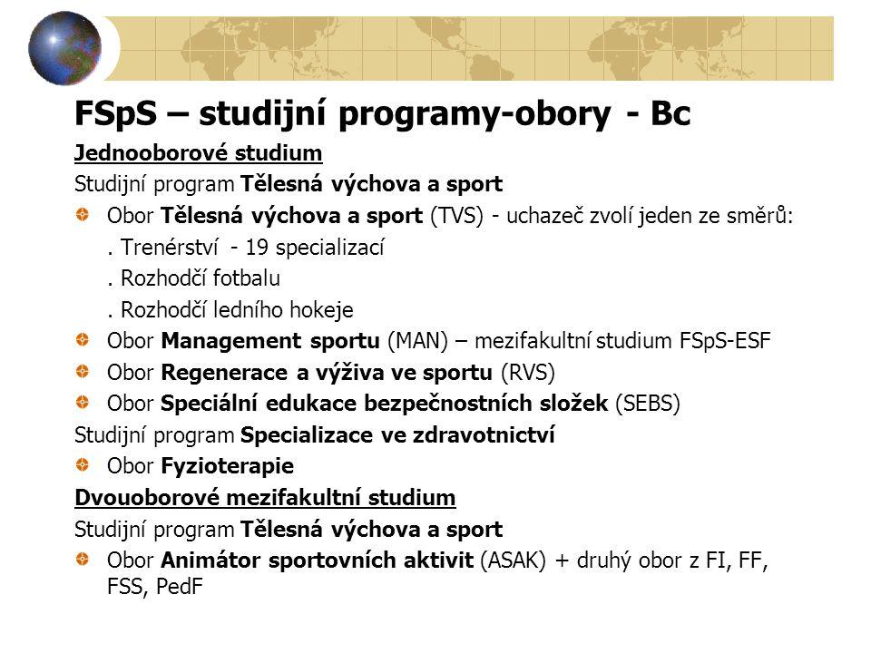 FSpS – studijní programy-obory - Bc